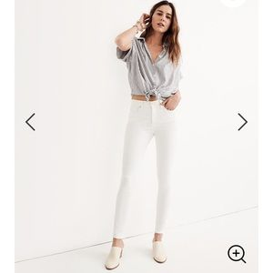 """Madewell 9"""" Mid-Rise Skinny Jeans in Pure White 29"""